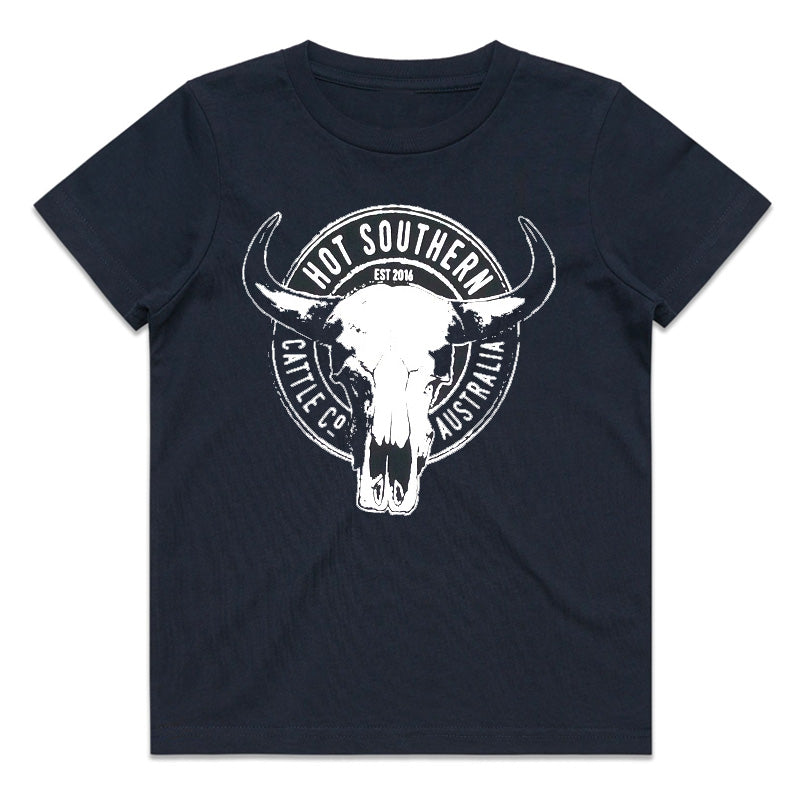 Hot Southern Cattle Co Kids Navy T-Shirt - [Only Size 6 & 10 Left] 50% OFF [NO Refunds/Exchanges]