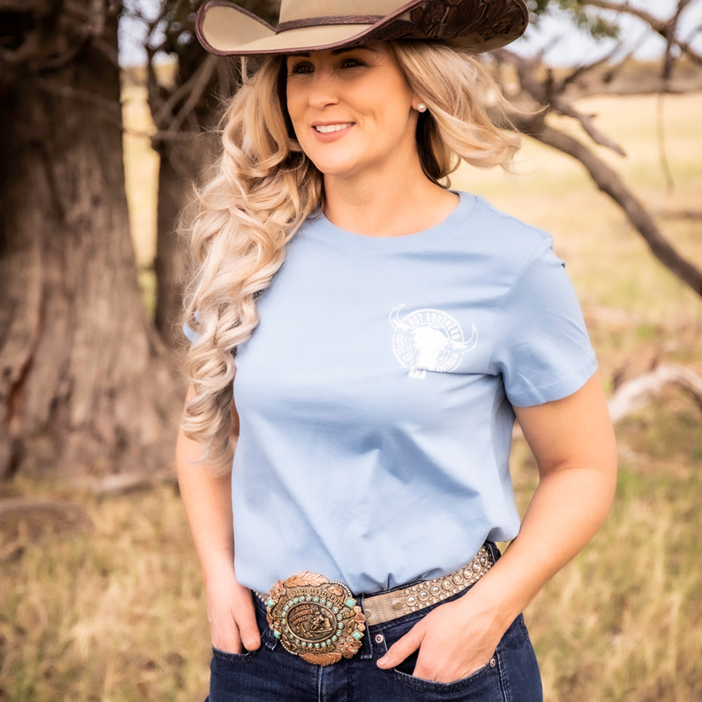 Hot Southern Cattle Co Dusty Blue Women's Fit Crew Neck T-Shirt