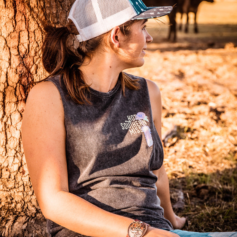 Hot Southern Miss Aussie Colour Skull Stonewash Black Tank - Unisex Fit