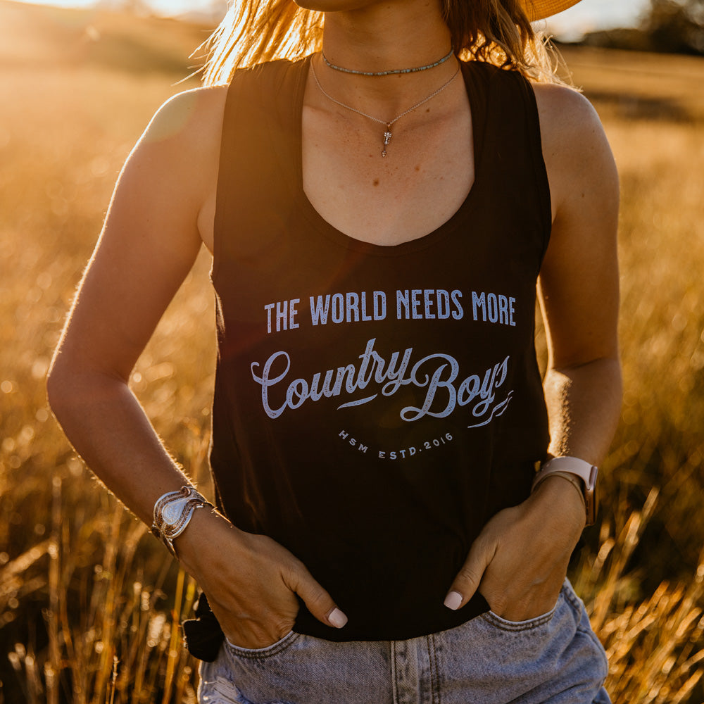 Country Boys Ladies Black Singlet