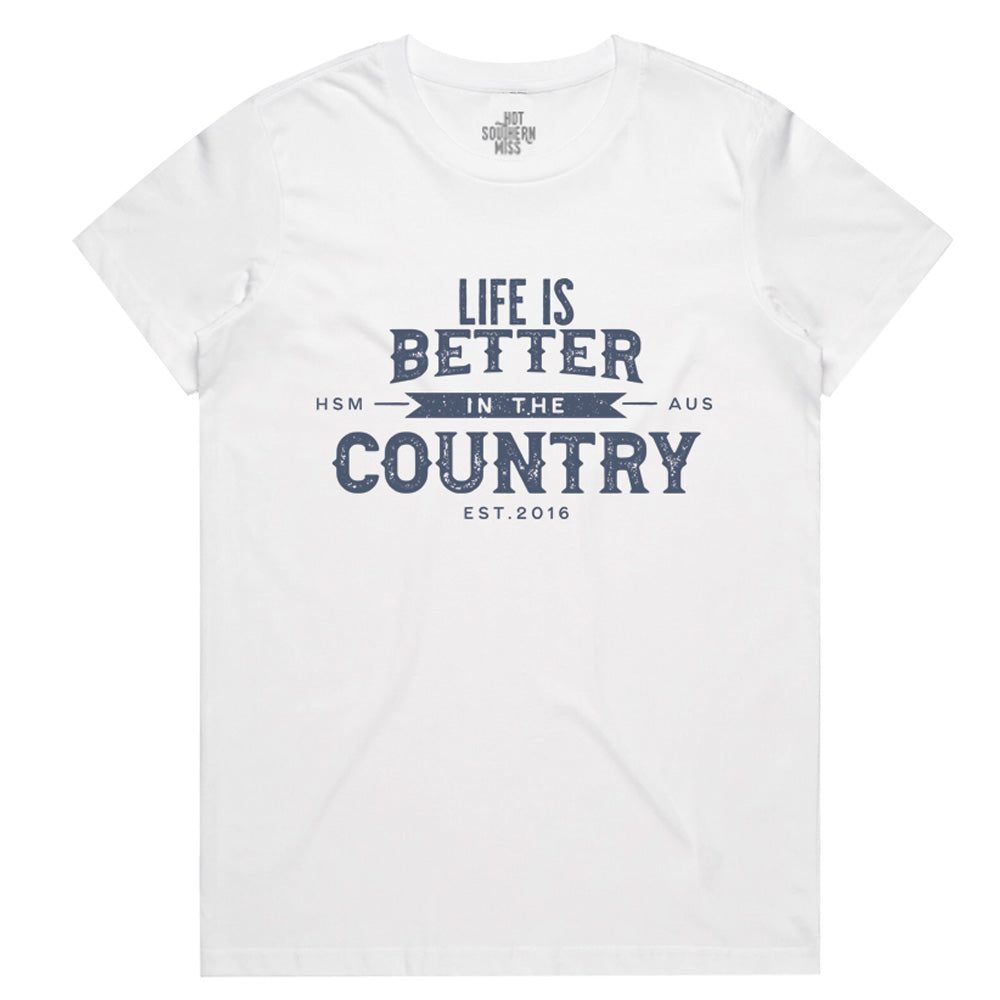 Hot Southern Miss Country Life White Women's Fit Crew Neck T-Shirt