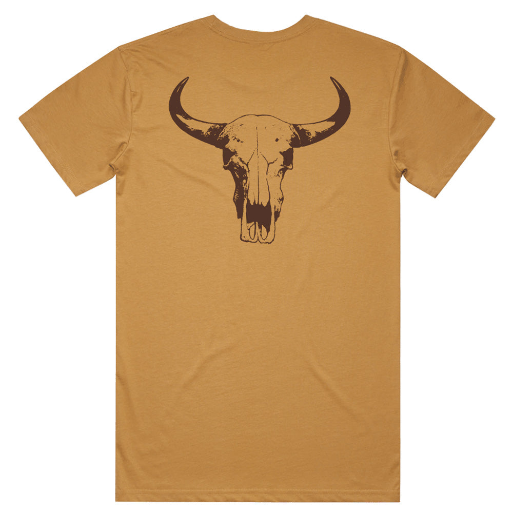 Hot Southern Miss Cow Skull Unisex Fit Crew Neck Camel T-Shirt