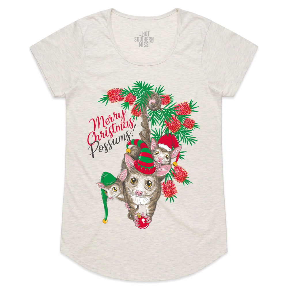 Hot Southern Miss Merry Christmas Possums Women's Fit Cream Marle Scoop Neck T-shirt