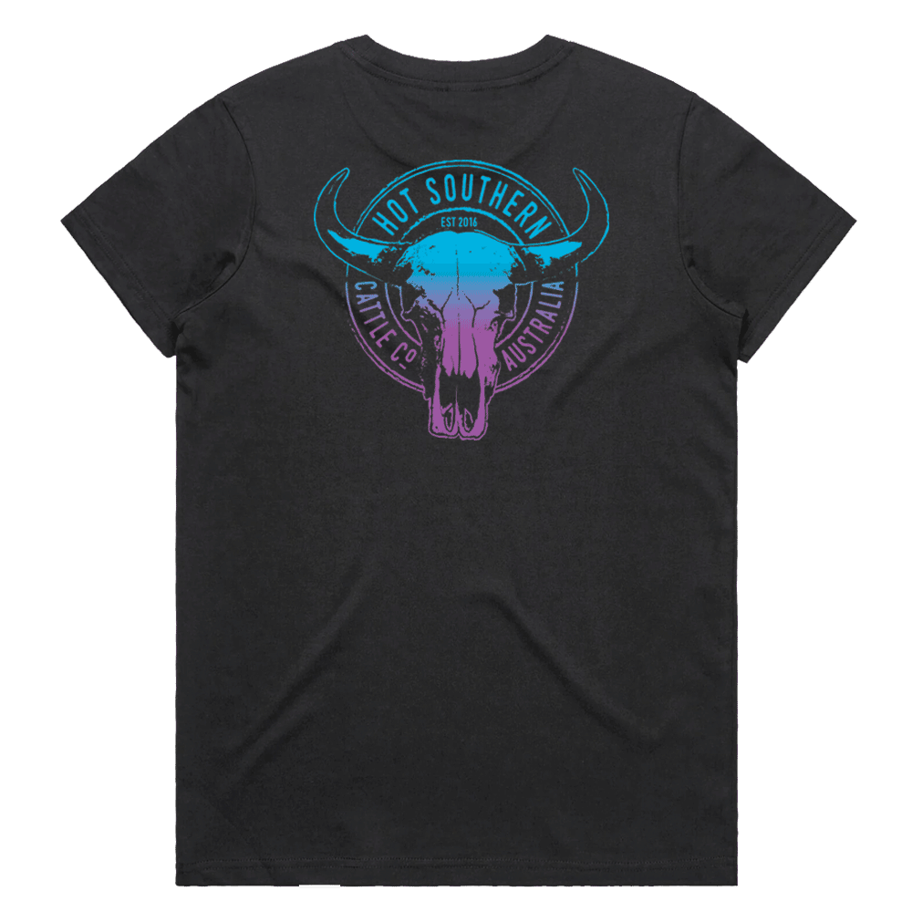 Hot Southern Cattle Co Turquoise/Purple Women's Fit Black Crew Neck T-Shirt