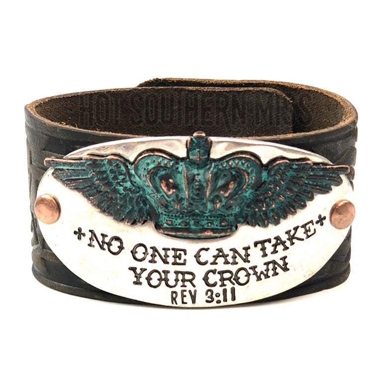 Cheekys No One Can Take Your Crown Faux Leather Cuff