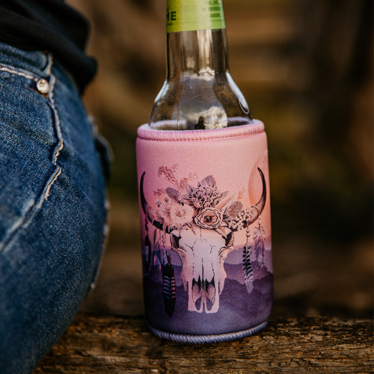 Australian Floral Cow Skull Beer Can Stubby Bottle Cooler Holder - Dawn