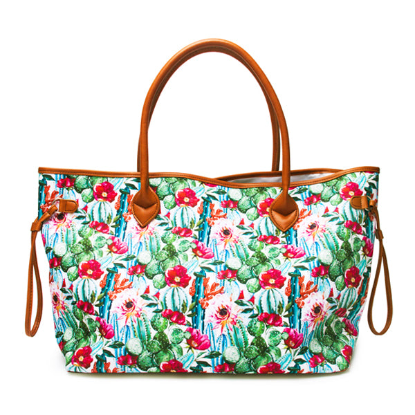 Canvas and Faux Leather Western Tote Bag - Flower Cactus