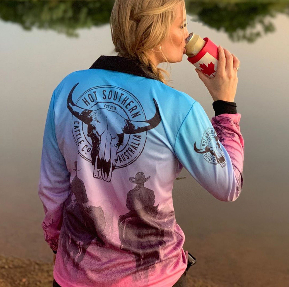 Cattle Co Ladies Fishing Shirt - Blue & Pink Drover