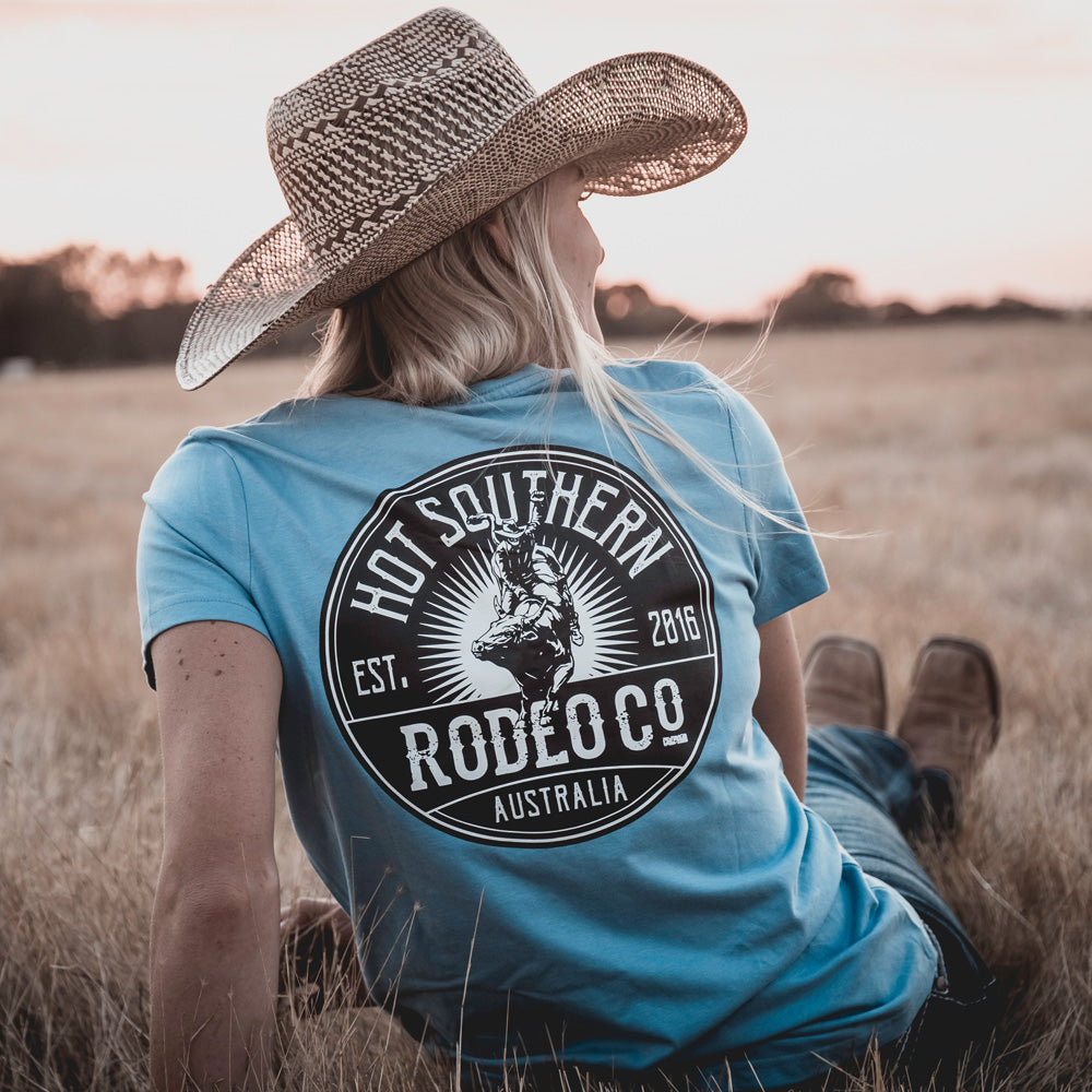 Hot Southern Rodeo Co Bull Rider Dusty Blue Women's Fit Crew Neck T-Shirt