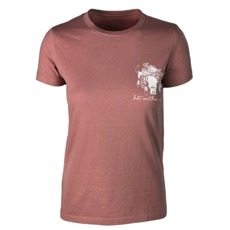 Hot Southern Miss Aussie Floral Skull Dusty Pink T-Shirt - [Sizes L & XL LEFT] 50% OFF [NO Refunds/Exchanges]