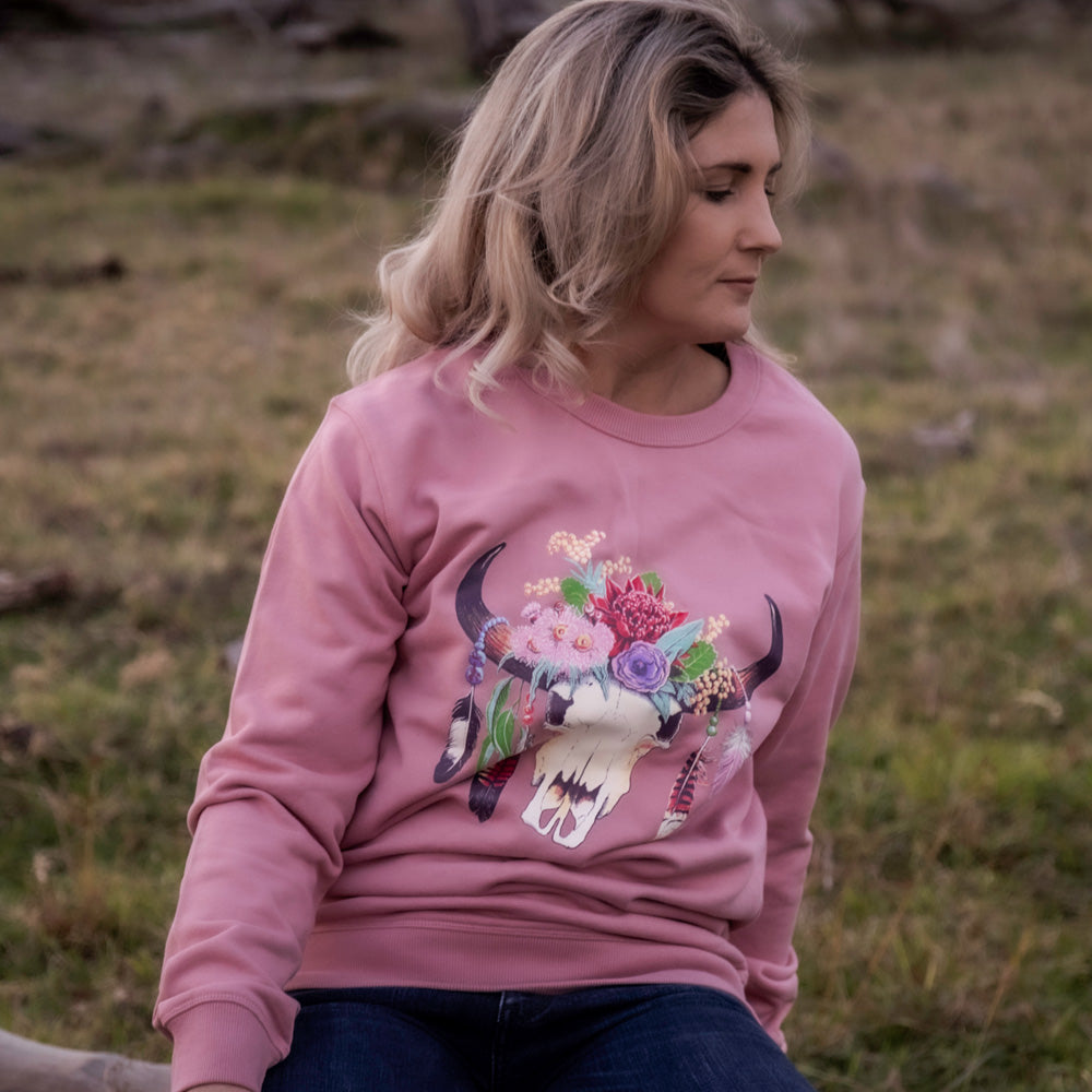 Hot Southern Miss Aussie Floral Skull Dusty Pink Premium Crew Neck Pullover - Unisex Fit - [Only size M & 2XL LEFT] 30% OFF [NO Refunds/Exchanges]