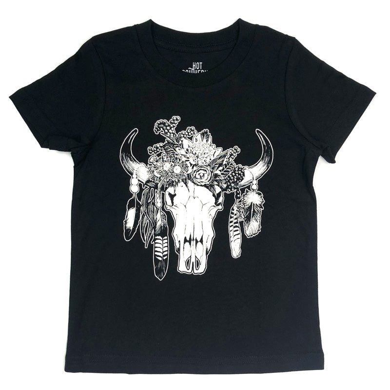 Hot Southern Miss Aussie Floral Skull Kids Black T-Shirt - [Only ONE Size 4 Left] 50% OFF [NO Refunds/Exchanges]