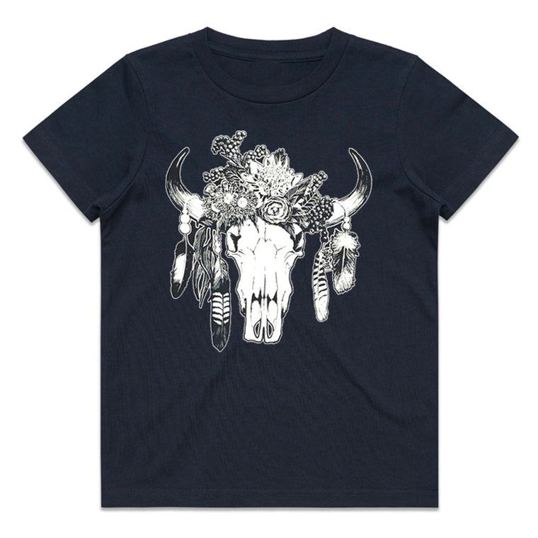 Hot Southern Miss Aussie Floral Skull Kids Navy T-Shirt - [Only Size 4 & 14 LEFT] 50% OFF [NO Refunds/Exchanges]