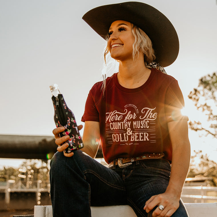 Cold Beer Ladies Maroon Tee