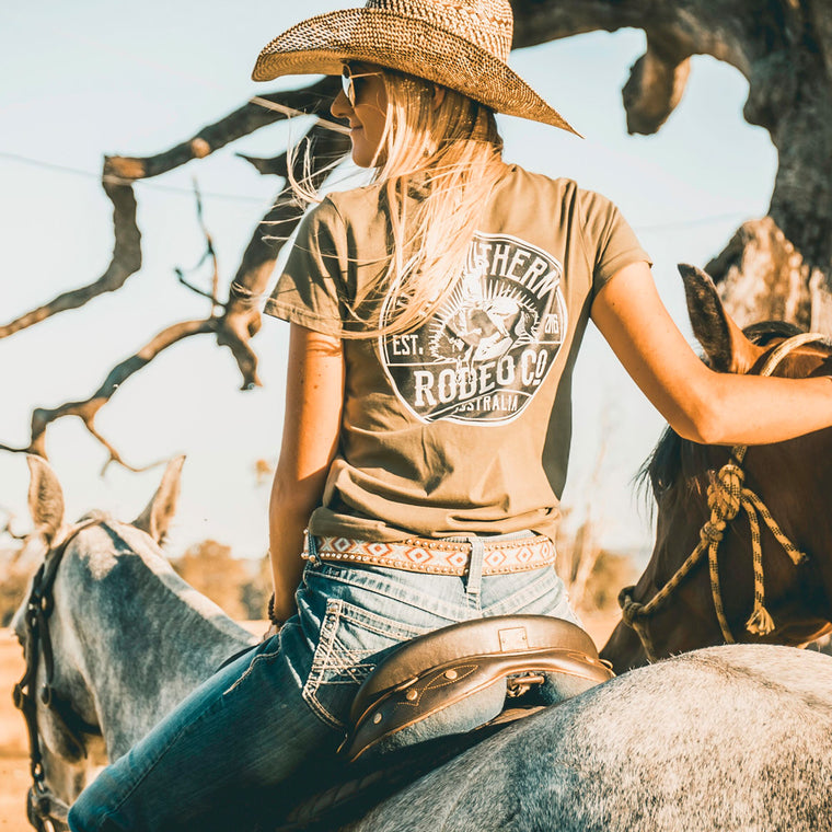 Bronc Rodeo Co Ladies Olive Tee