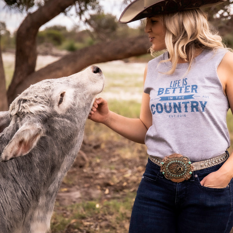 Hot Southern Miss Life Is Better In The Country Grey Marle Women's Original Tank - [Only ONE size M LEFT] 30% OFF [NO Refunds/Exchanges]