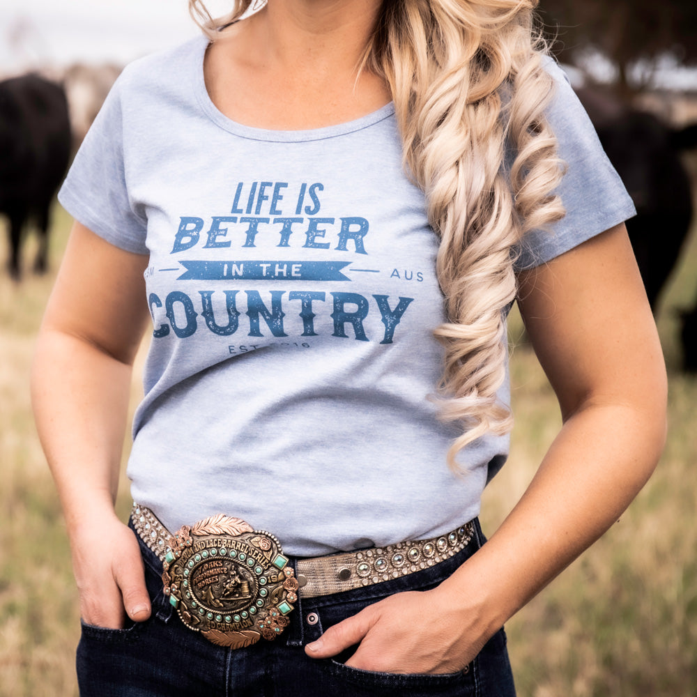 Hot Southern Miss Life Is Better In The Country Blue Marle Scoop T-shirt