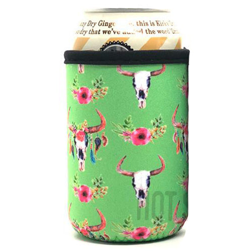 Lime Cow Skull Beer Can Cooler Holder