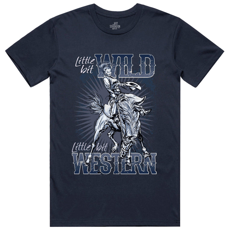 Hot Southern Miss Wild & Western Unisex Fit Crew Neck Navy T-Shirt