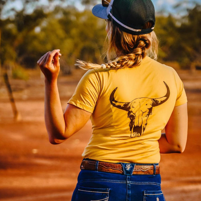 Signature Cow Skull Ladies Mustard Tee