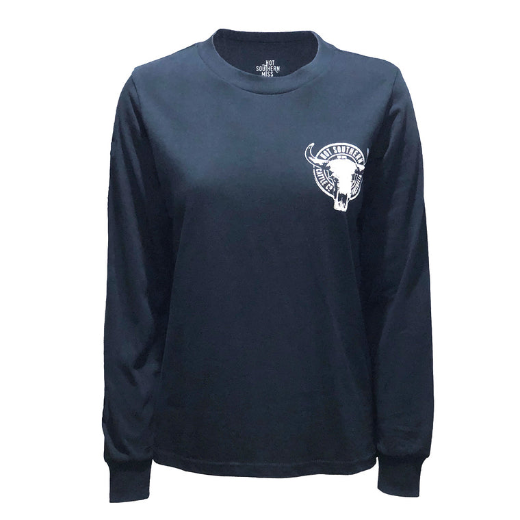 Hot Southern Cattle Co Navy Long Sleeve T-Shirt