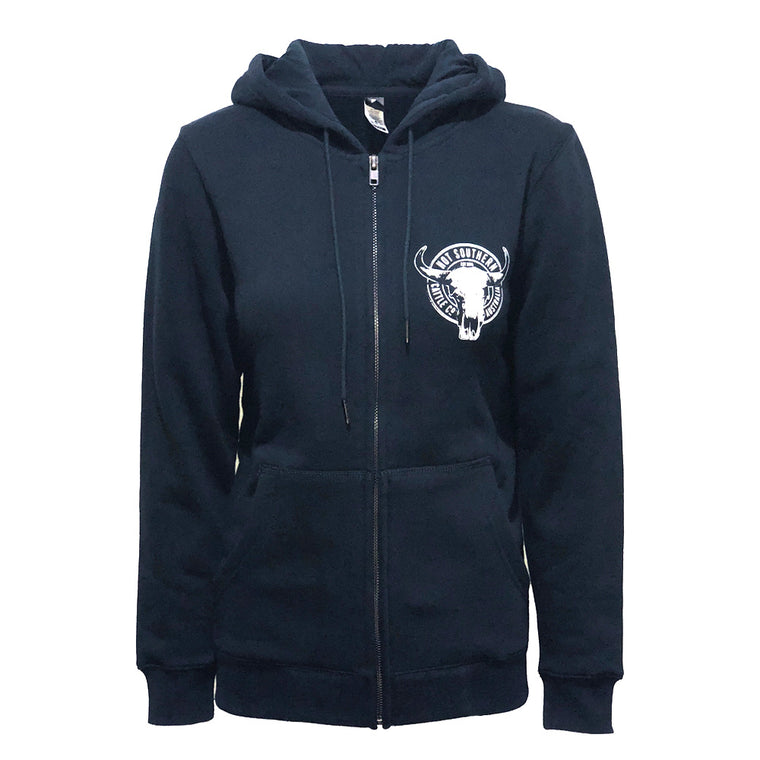 Hot Southern Cattle Co Navy Zip Hoodie - Unisex Fit