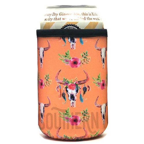 Orange Cow Skull Beer Can Cooler Holder
