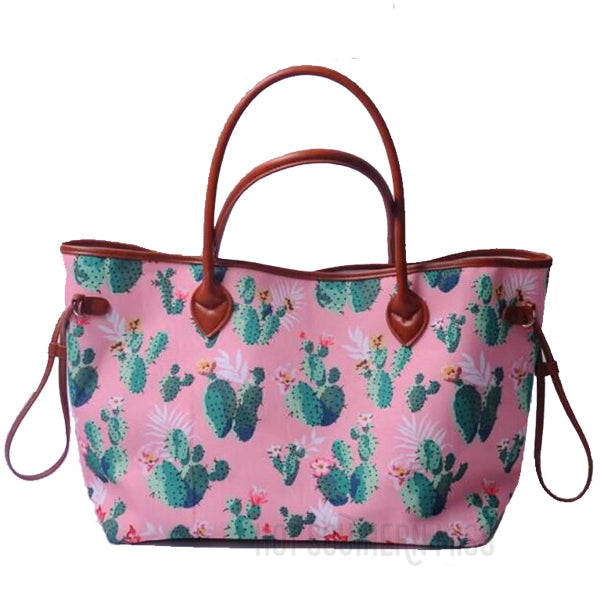 Canvas and Faux Leather Western Tote Bag - Pink Cactus