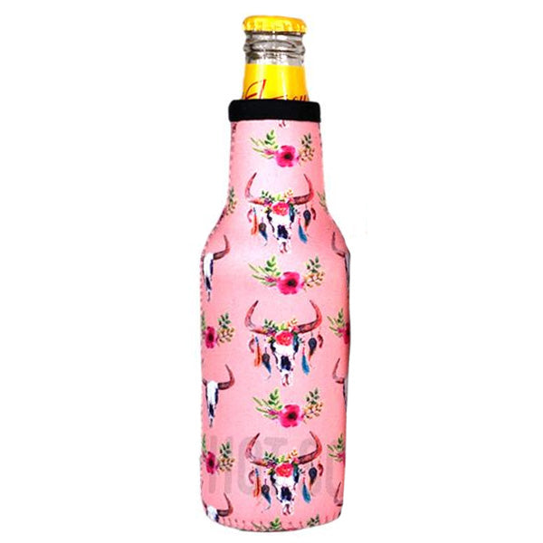 Pink Cow Skull Beer Bottle Cooler Holder