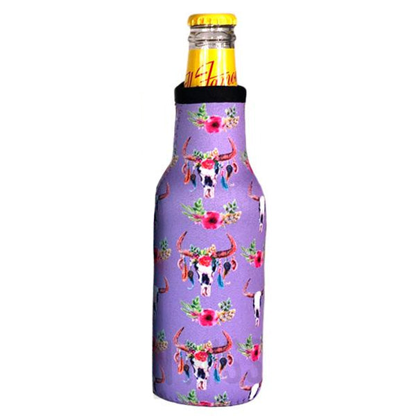 Purple Cow Skull Beer Bottle Cooler Holder