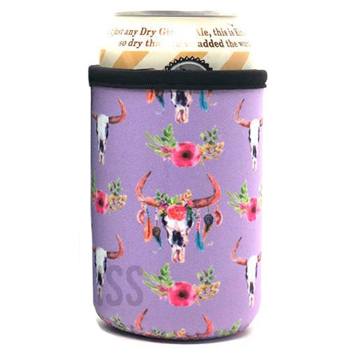 Purple Cow Skull Beer Can Cooler Holder