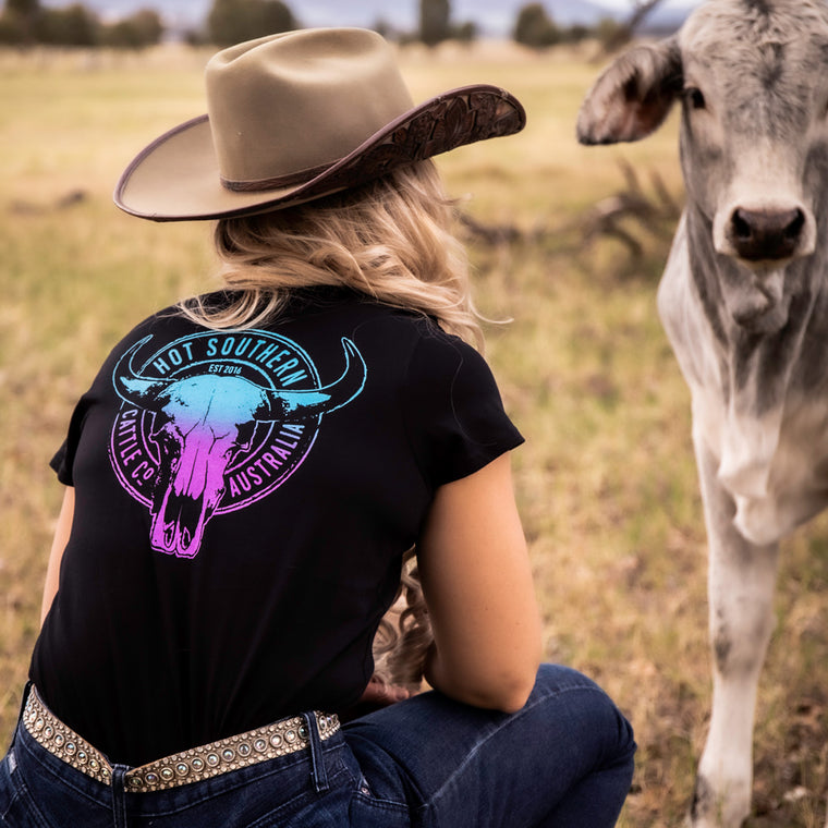 Hot Southern Cattle Co Turquoise/Purple Women's Fit Black Scoop T-Shirt
