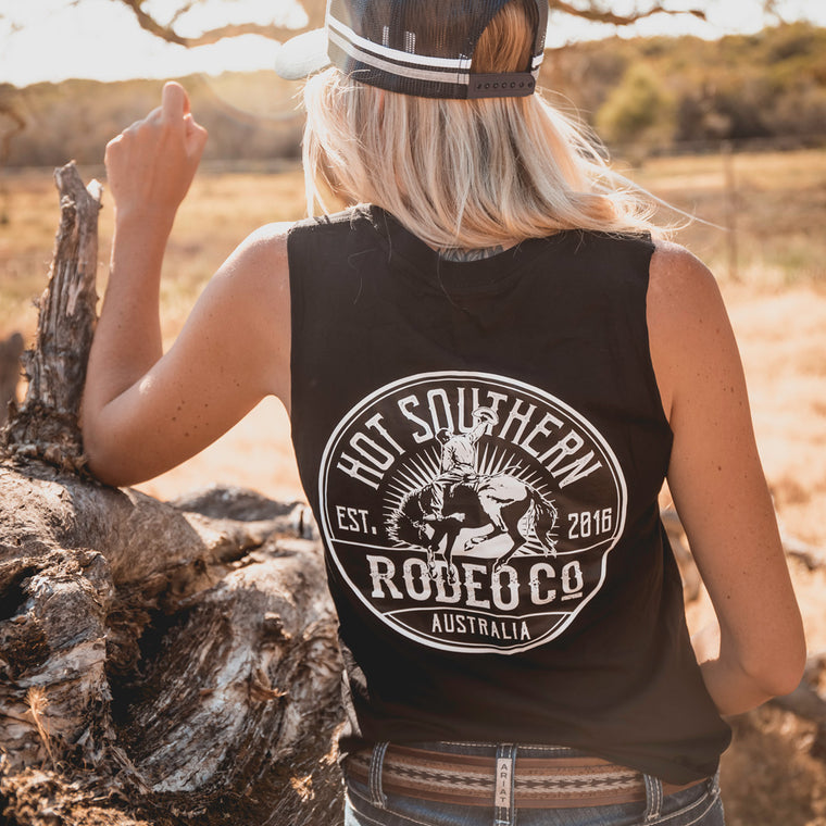 Hot Southern Rodeo Co Bronc Black Womens Original Tank