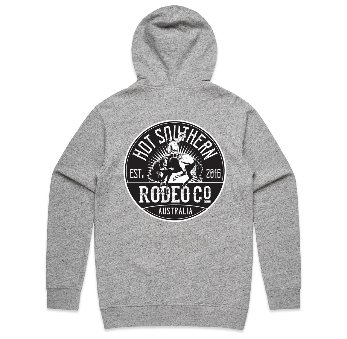 Hot Southern Rodeo Co Bronc Grey Fleck Premium Zip Up Hoodie - Unisex Fit