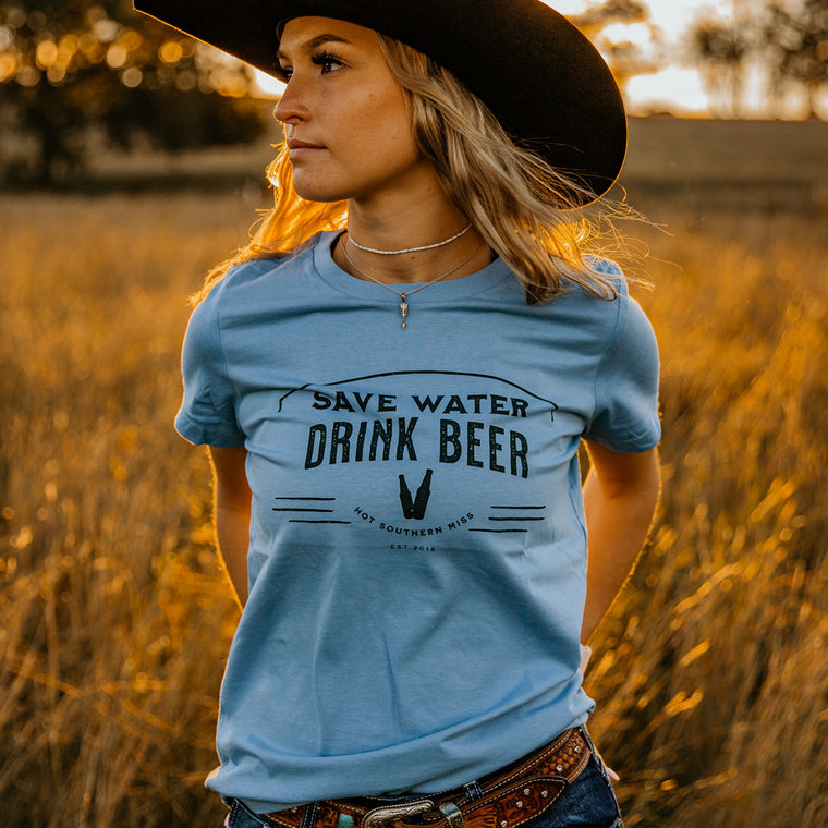 Save Water Ladies Dusty Blue Tee