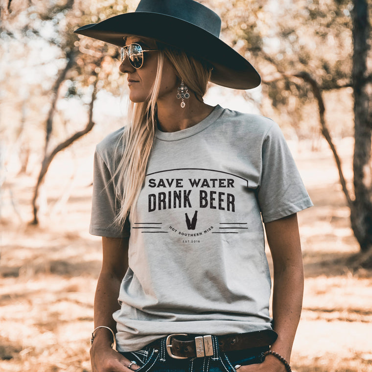 Hot Southern Miss Save Water Drink Beer Unisex Fit Crew Neck Sand T-Shirt