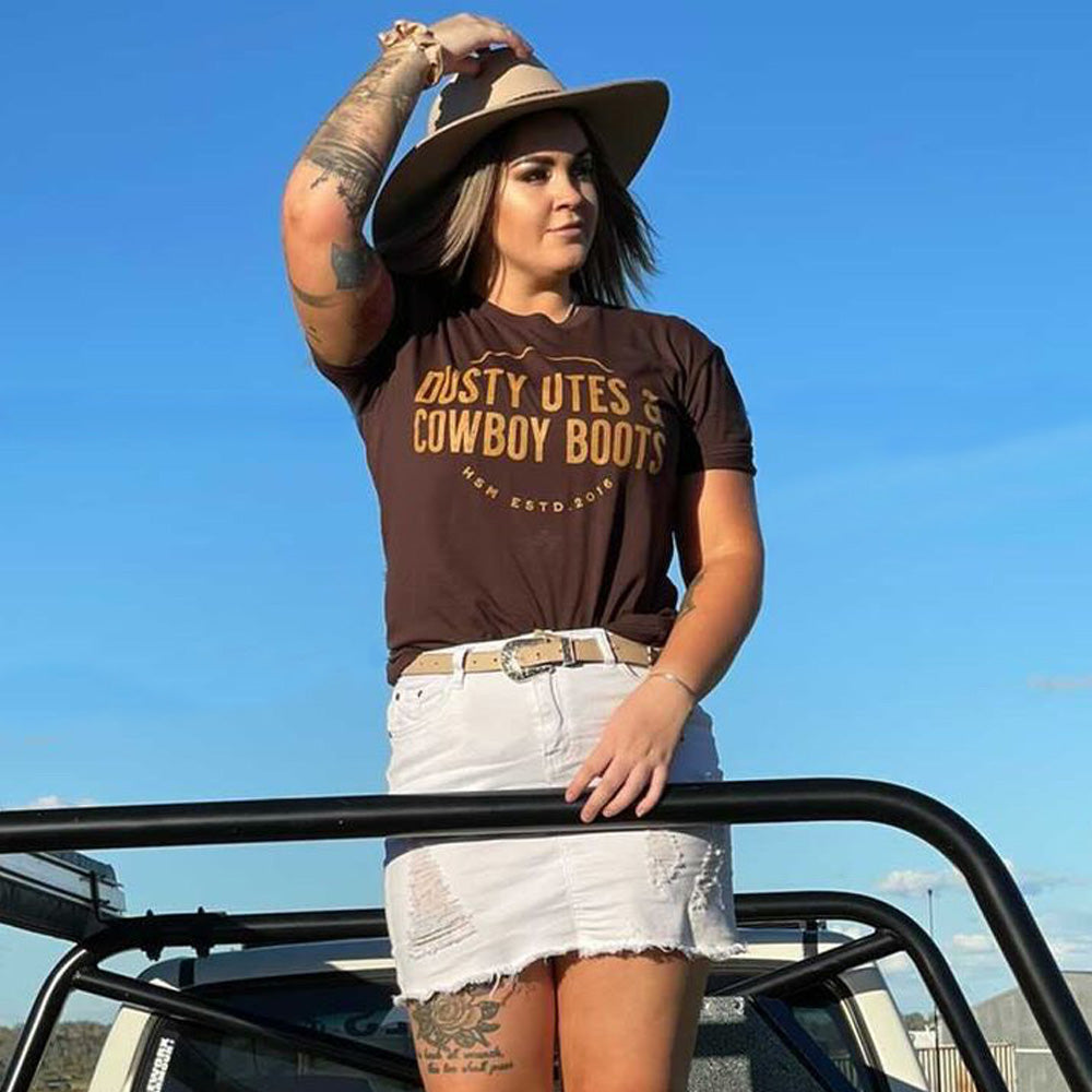 Dusty Utes & Cowboy Boots Unisex Chocolate Tee