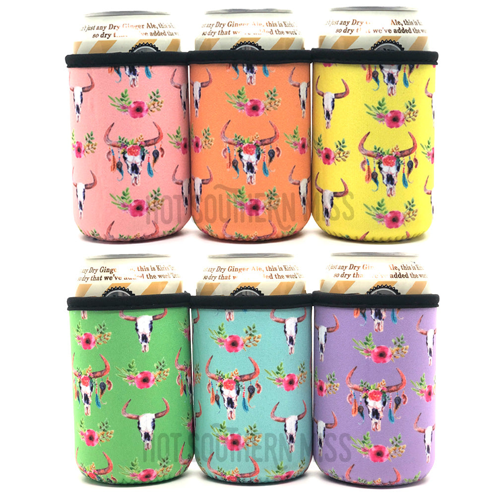 6 Pack Cow Skull Beer Can Cooler Holders