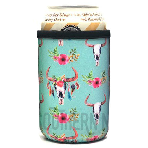 Turquoise Cow Skull Beer Can Cooler Holder