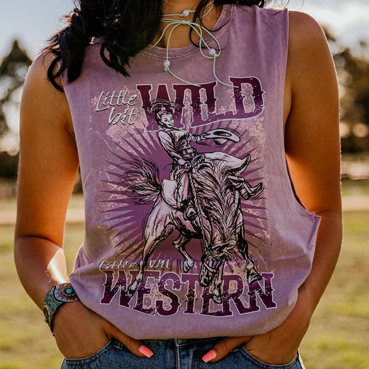 Hot Southern Miss Wild & Western Orchid Stonewash Muscle Tank - Unisex Fit