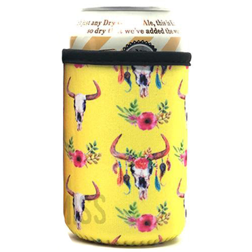 Yellow Cow Skull Beer Can Cooler Holder
