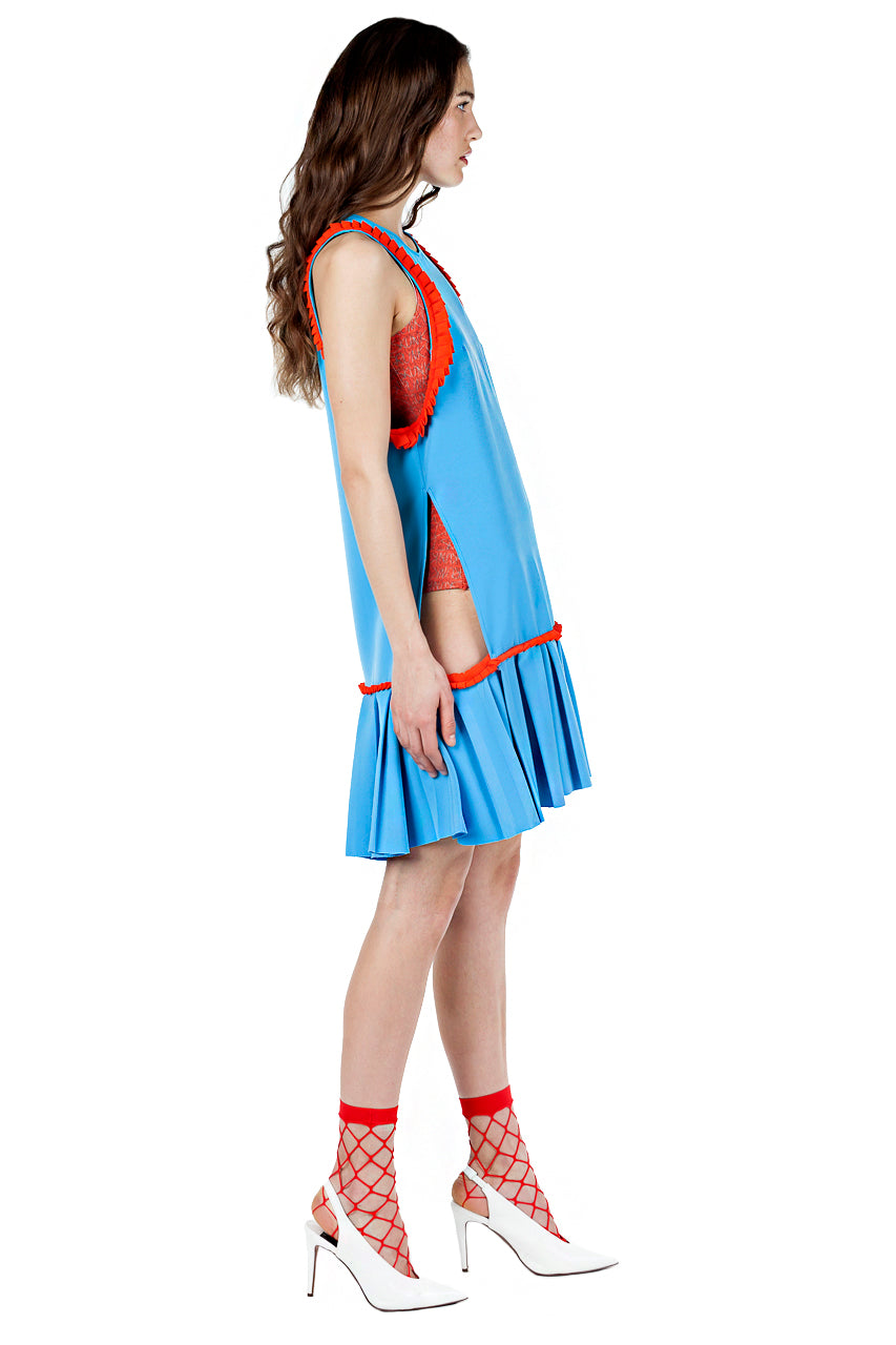 BLUE-MINI-DRESS-KRASIMIRA-STOYNEVA-ORANGE-TRIM