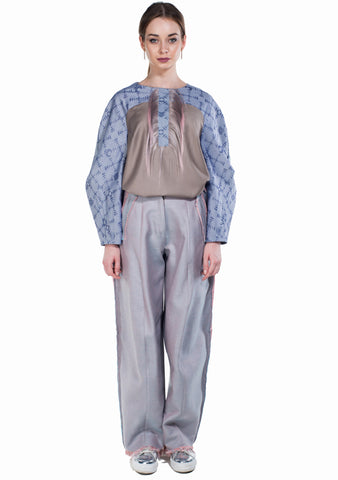Krasimira-Stoyneva-bi-colour-frayed-trousers
