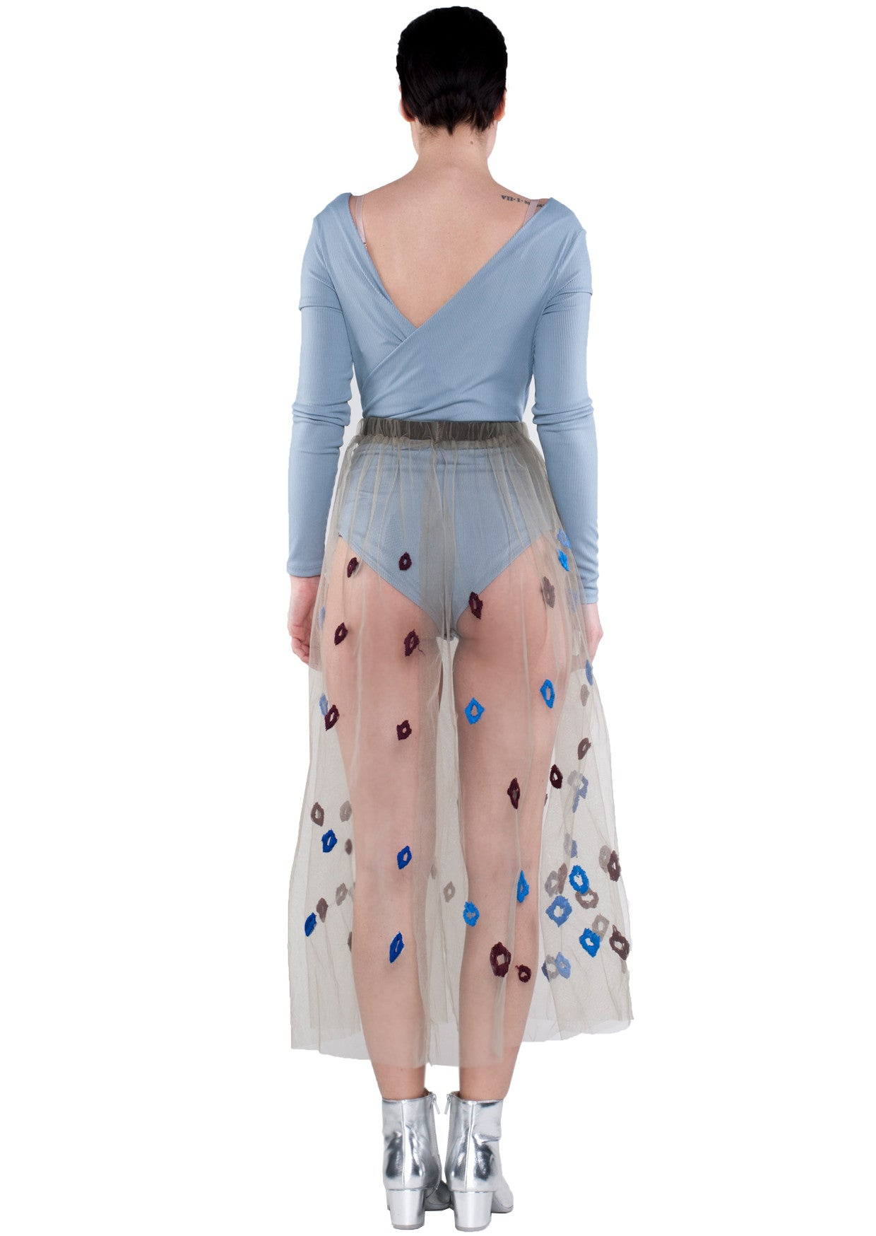 BACK - KRASIMIRA STOYNEVA MESH BLUE FLOWER SKIRT