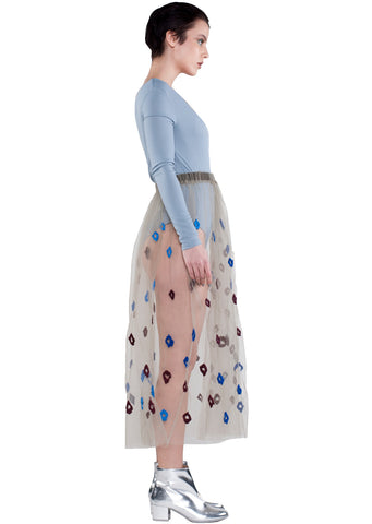 SIDE - KRASIMIRA STOYNEVA MESH BLUE FLOWER SKIRT