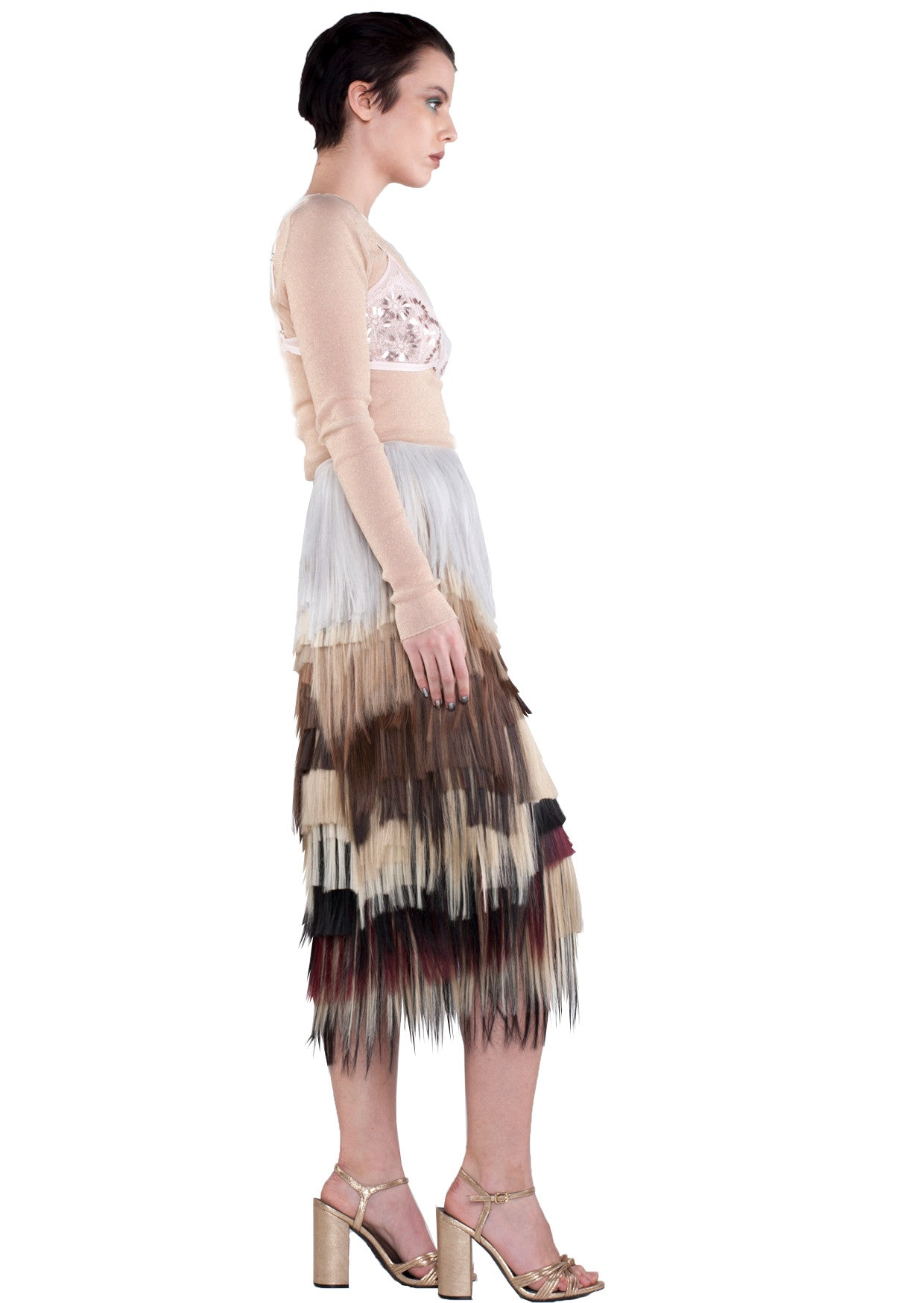 MID LENGTH NATURAL TONE SKIRT