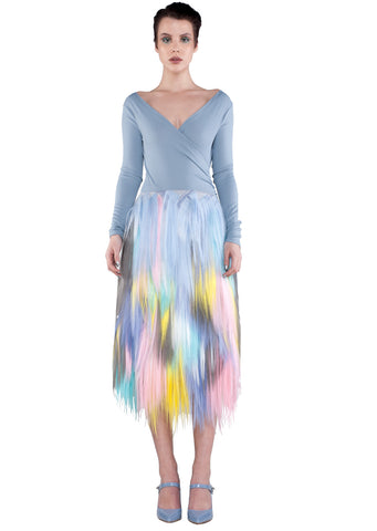 FRONT multicolour pastel midi skirt