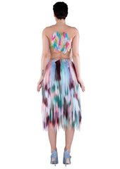 BACK embellished zigzag midi skirt- purple, teal, white, blue, pink