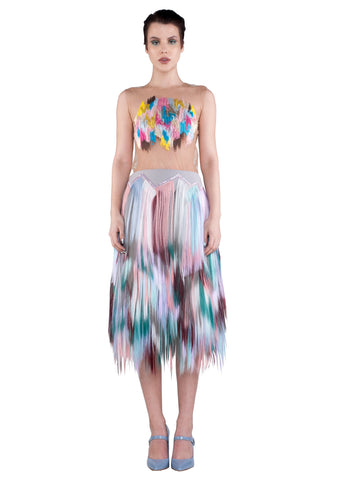 FRONT embellished zigzag midi skirt- purple, teal, white, blue, pink