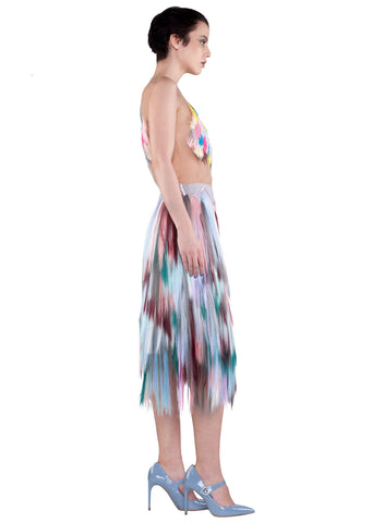 SIDE embellished zigzag midi skirt- purple, teal, white, blue, pink